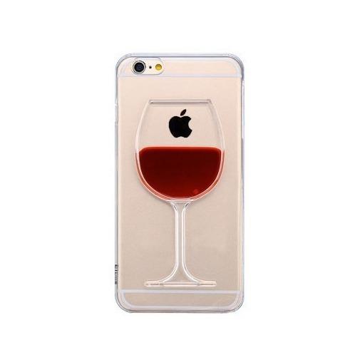 Etui iPhone 6 Plus z płynem w środku na - czerwone wino.