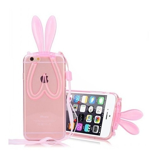 Silikonowe etui na iPhone 5 / 5s Zajączek - różowy.