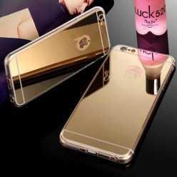 Silikonowe etui lustrzane mirror do iPhone 6 / 6s - złoty.