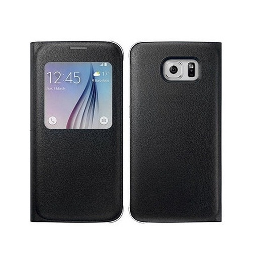 Etui z klapką S-View na Galaxy S6 Edge - czarny.