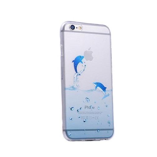 Silikonowe etui z nadrukiem na iPhone 6 / 6s - delfiny.