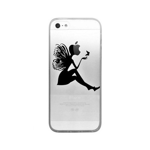 Silikonowe etui z nadrukiem na iPhone 5 / 5s - kobieta motyl.
