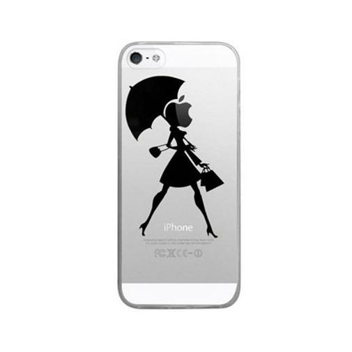 Silikonowe etui z nadrukiem na iPhone 5 / 5s - kobieta z parasolem.