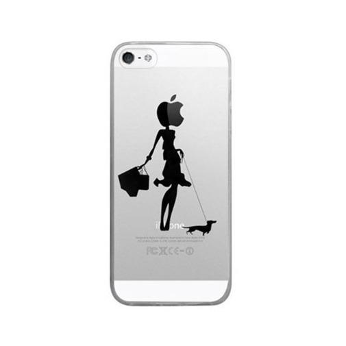 Silikonowe etui z nadrukiem na iPhone 5 / 5s - kobieta z psem.