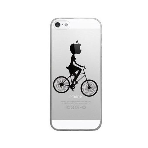 Silikonowe etui z nadrukiem na iPhone 5 / 5s - kobieta na rowerze.