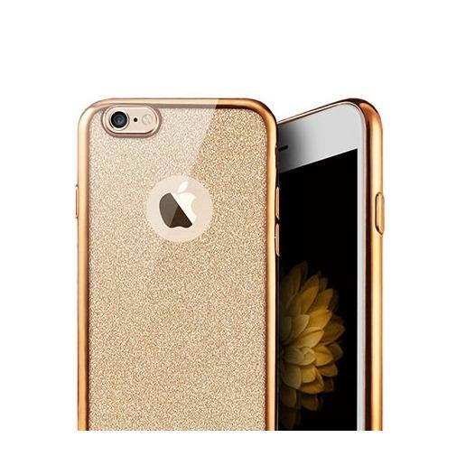 Platynowane etui na iPhone 6 / 6s silikon SLIM Brokat - złoty.