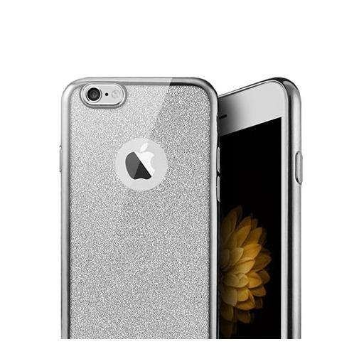 Platynowane etui na iPhone 6 / 6s silikon SLIM Brokat - srebrny.