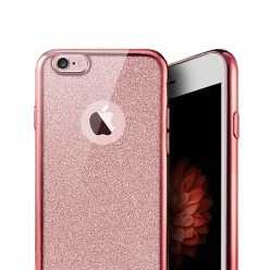 Platynowane etui na iPhone 6 / 6s silikon SLIM Brokat - różowy.
