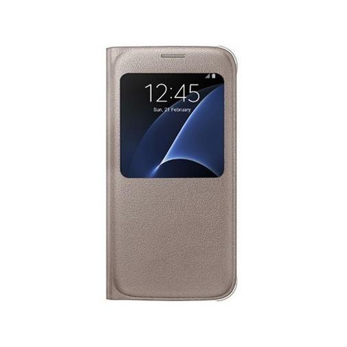 Etui z klapką S-View na Galaxy S7 - złoty.