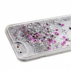 Etui z płynem w środku Stardust na iPhone SE - srebrny.