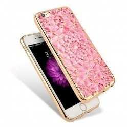 Silikonowe etui na iPhone 6 / 6s platynowane Rozeta - różowe.