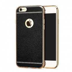 Platynowane etui na iPhone 6 / 6s  SLIM Leather - czarny.