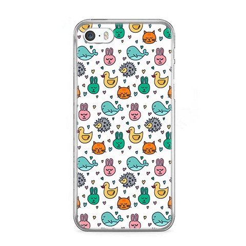 Etui na telefon iPhone 5 / 5s - kolorowe zwierzaczki.
