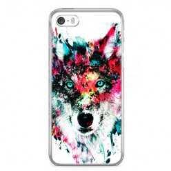 Etui na telefon iPhone 5 / 5s - głowa wilka watercolor.