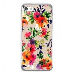 Etui na telefon iPhone 5 / 5s - kolorowe kwiaty.