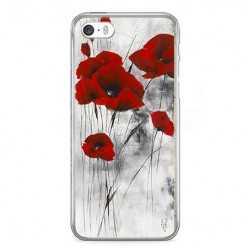 Etui na telefon iPhone 5 / 5s - czerwone kwiaty maki.