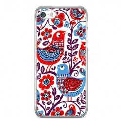 Etui na telefon iPhone 5 / 5s - łowickie wzory ptaszki.