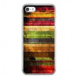 Etui na telefon iPhone 5 / 5s - kolorowe ciemne pasy.