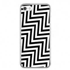 Etui na telefon iPhone SE - czarno - biały Zyg Zag.