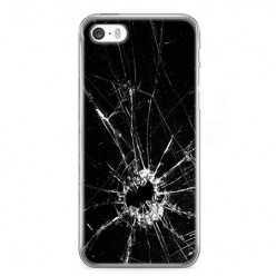 Etui na telefon iPhone SE - czarna rozbita szyba.