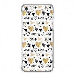 Etui na telefon iPhone SE - serduszka Love.
