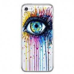 Etui na telefon iPhone SE - kolorowe oko watercolor.