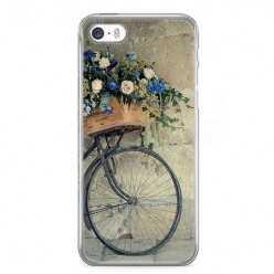 Etui na telefon iPhone SE - rower z kwiatami.
