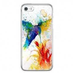 Etui na telefon iPhone SE - niebieski koliber watercolor.