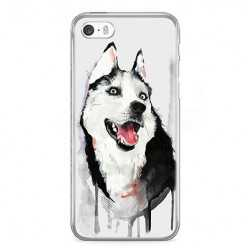 Etui na telefon iPhone SE - pies Husky watercolor.