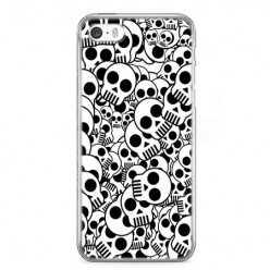 Etui na telefon iPhone SE - czarno - białe czaszki.