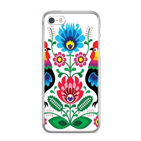 Etui na telefon iPhone SE - łowickie wzory kwiaty.