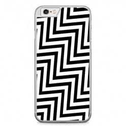Etui na telefon iPhone 6 / 6s - czarno - biały Zyg Zag.