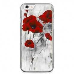Etui na telefon iPhone 6 / 6s - czerwone kwiaty maki.