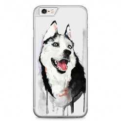 Etui na telefon iPhone 6 / 6s - pies Husky watercolor.