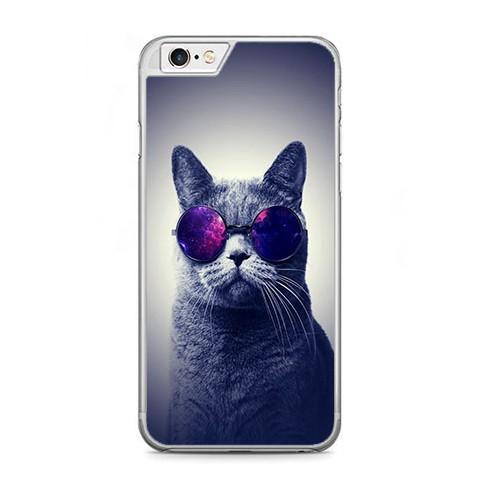 Etui na telefon iPhone 6 Plus / 6s Plus - kot w okularach galaktyka.