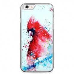 Etui na telefon iPhone 6 Plus / 6s Plus - czerwona papuga watercolor.