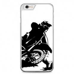 Etui na telefon iPhone 6 Plus / 6s Plus - czarno biały motocykl.