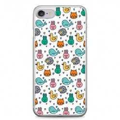 Etui na telefon iPhone 7 - kolorowe zwierzaczki.