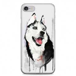 Etui na telefon iPhone 7 - pies Husky watercolor.