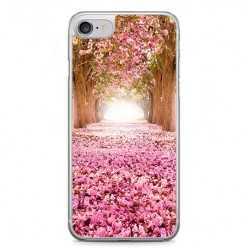 Etui na telefon iPhone 7 - różowe liącie w parku.