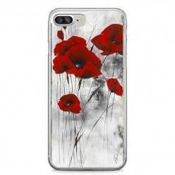 Etui na telefon iPhone 7 Plus - czerwone kwiaty maki.