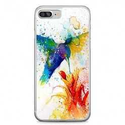 Etui na telefon iPhone 7 Plus - niebieski koliber watercolor.