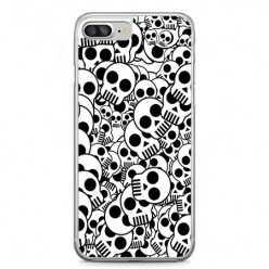 Etui na telefon iPhone 7 Plus - czarno - białe czaszki.