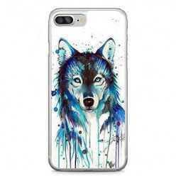 Etui na telefon iPhone 7 Plus - niebieski wilk watercolor.