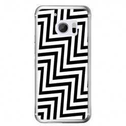 Etui na telefon HTC 10 - czarno - biały Zyg Zag.