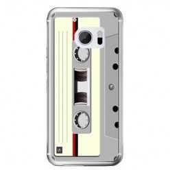 Etui na telefon HTC 10 - kaseta retro - biała.