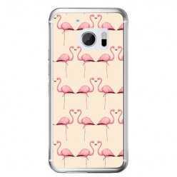 Etui na telefon HTC 10 - różowe flamingi.
