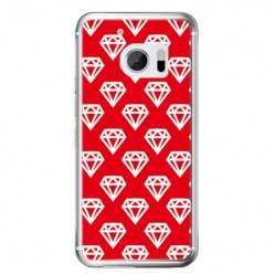 Etui na telefon HTC 10 - czerwone diamenty.
