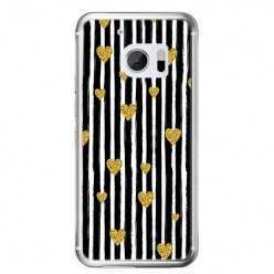 Etui na telefon HTC 10 - złote serduszka.