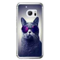 Etui na telefon HTC 10 - kot w okularach galaktyka.